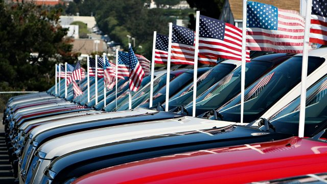 cars us flags